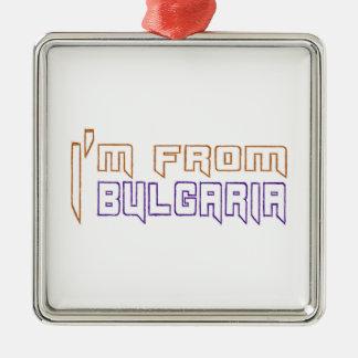 Soy de Bulgaria Adorno Cuadrado Plateado