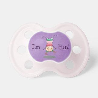 - Soy diversión - chica al revés púrpura Chupetes De Bebe