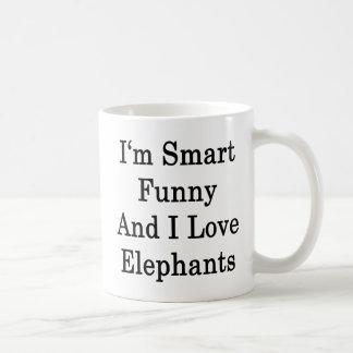 Soy divertido elegante y amo elefantes taza