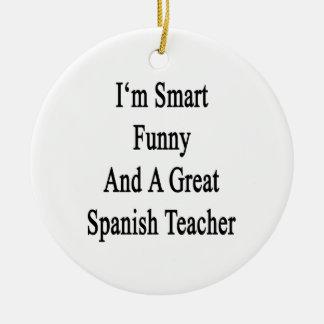 Soy divertido elegante y gran profesor español ornamento para arbol de navidad