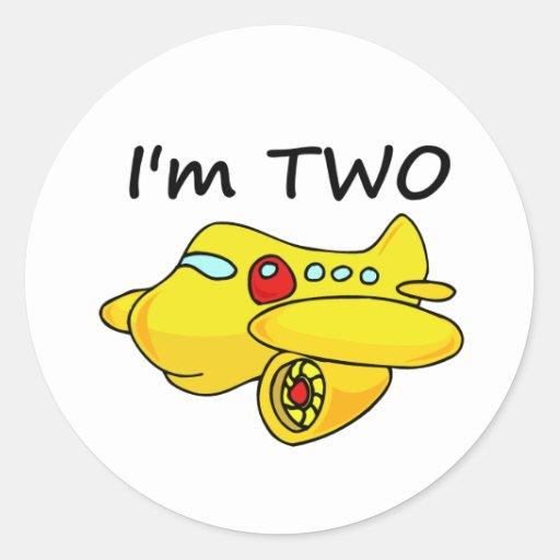 Soy dos, avión amarillo pegatina redonda