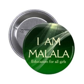 Soy educación de Malala para todos los chicas Pin Redondo De 2 Pulgadas