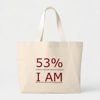 Soy el 53% bolsa tela grande