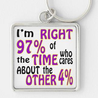 Soy el 97% derecho del tiempo que cuida llavero cuadrado plateado