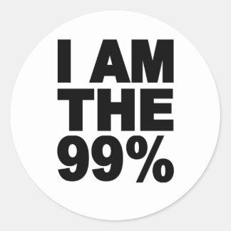 Soy el 99% (ocupe Wall Street) Pegatina Redonda