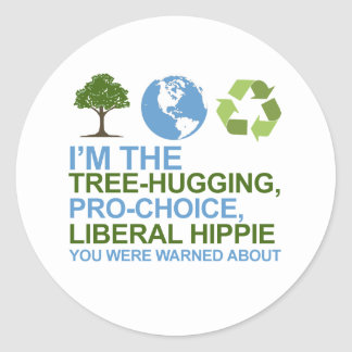 Soy el árbol-abrazo, hippie proabortista, liberal pegatina redonda
