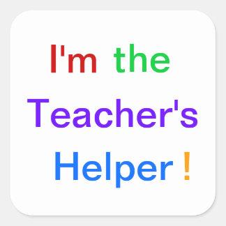 """¡""""Soy el ayudante del profesor! """"Pegatinas Pegatina Cuadrada"""