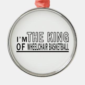 Soy el baloncesto de silla de ruedas de rey Of Adorno Redondo Plateado