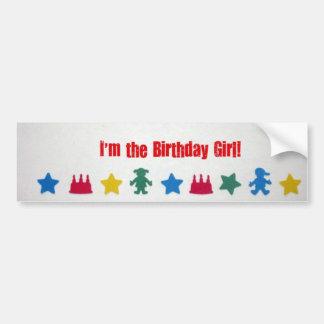 ¡Soy el chica del cumpleaños! Etiqueta De Parachoque