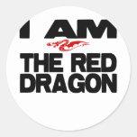 Soy el dragón rojo pegatinas redondas
