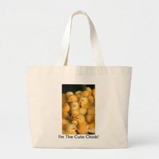 Soy el pollo lindo de los polluelos del bebé del p bolsa tela grande