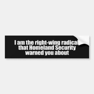 Soy el radical de la derecha esa seguridad de patr pegatina para auto