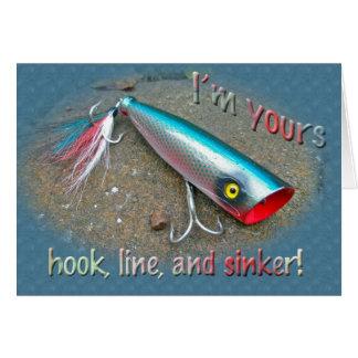 Soy el suyo romance del señuelo de la pesca del ag tarjeta de felicitación