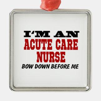 Soy enfermera aguda del cuidado arqueo abajo antes adorno navideño cuadrado de metal