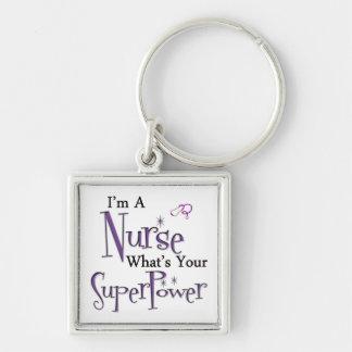 Soy enfermera llavero cuadrado plateado