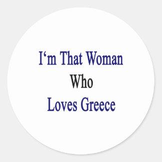 Soy esa mujer que ama Grecia Pegatina Redonda
