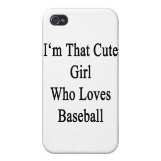 Soy ese chica lindo que ama béisbol iPhone 4/4S carcasa