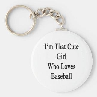 Soy ese chica lindo que ama béisbol llavero redondo tipo pin