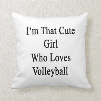 Soy ese chica lindo que ama voleibol cojín decorativo