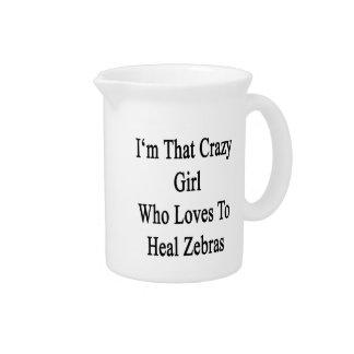 Soy ese chica loco que ama curar cebras jarra para bebida