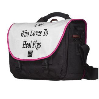 Soy ese chica loco que ama curar cerdos bolsas para portatil