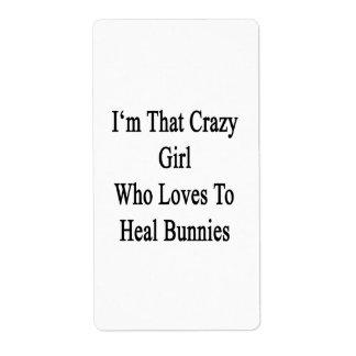 Soy ese chica loco que ama curar conejitos etiqueta de envío