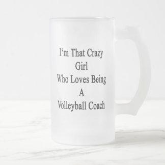 Soy ese chica loco que ama el ser un voleibol C Taza Cristal Mate