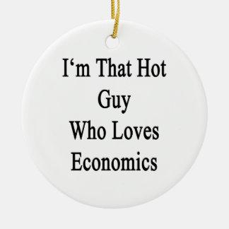 Soy ese individuo caliente que ama la economía adorno navideño redondo de cerámica