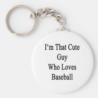 Soy ese individuo lindo que ama béisbol llavero redondo tipo pin
