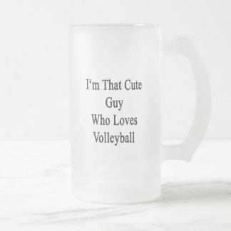 Soy ese individuo lindo que ama voleibol taza cristal mate