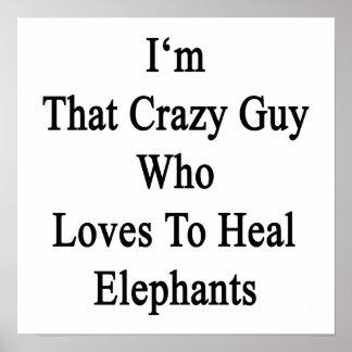 Soy ese individuo loco que ama curar elefantes póster