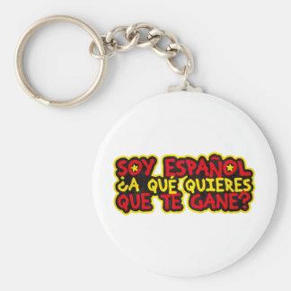 Soy Español ¿A qué quieres que te gane? Llavero Redondo Tipo Pin
