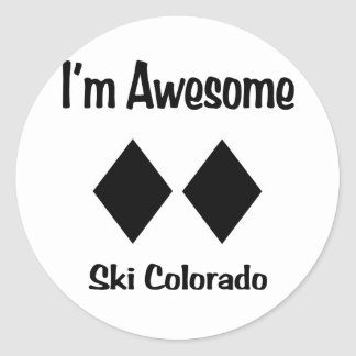 Soy esquí impresionante Colorado Pegatina Redonda