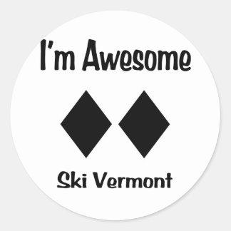Soy esquí impresionante Vermont Pegatina Redonda