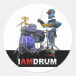Soy etiqueta engomada del robot del tambor