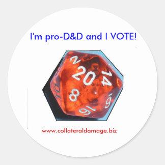 ¡Soy favorable-D&D y VOTO! pegatina