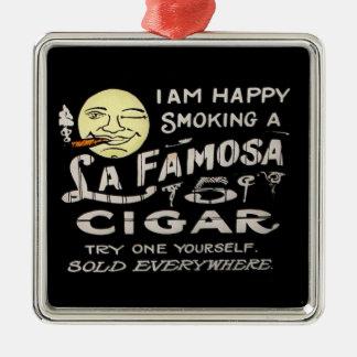 Soy feliz fumando un cigarro de Famosa del La - 5 Adorno Cuadrado Plateado