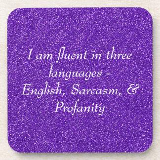 Soy fluido en tres idiomas posavasos de bebidas