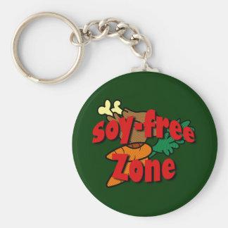 Soy-Free Zone Basic Round Button Keychain