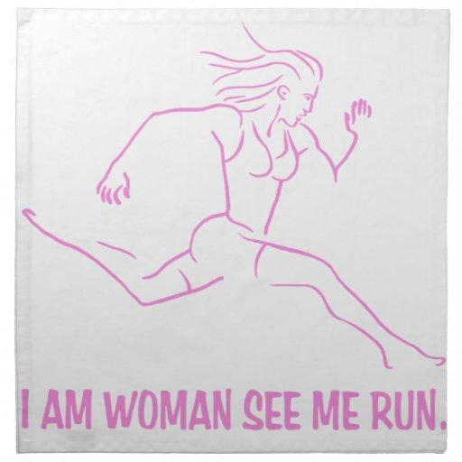 Soy funcionamiento de la mujer servilleta imprimida
