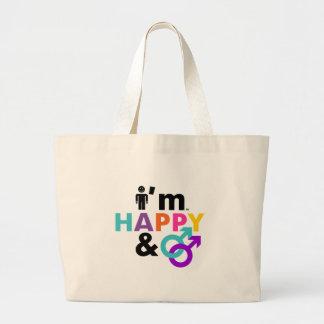 Soy gay feliz y LGBT aceptable Bolsa Tela Grande