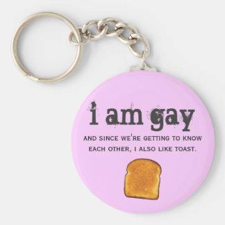 soy gay y también tengo gusto de la tostada llavero redondo tipo pin