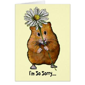 Soy hámster tan triste, lindo con la margarita gra felicitaciones