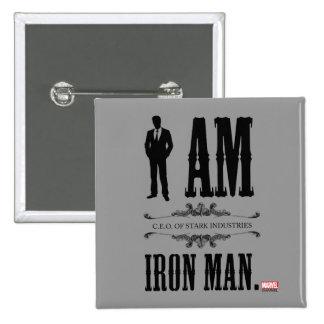 Soy hombre del hierro pin cuadrado