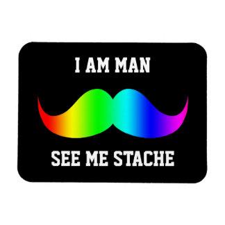 Soy hombre me veo ARCO IRIS del bigote del bigote  Imán De Vinilo
