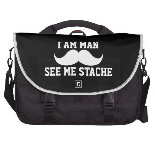 Soy hombre me veo bigote del bigote del stach DIVE Bolsas De Ordenador