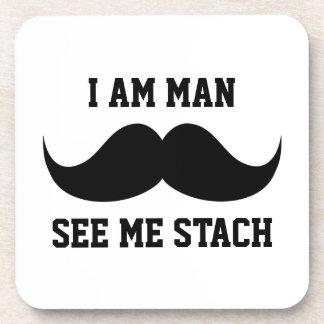 Soy hombre me veo bigote del bigote del stach dive posavasos de bebidas