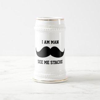 Soy hombre me veo bigote del bigote del stach dive jarra de cerveza