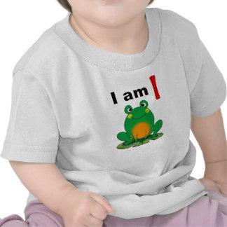 Soy hoy de 1 año la rana verde del dibujo animado camiseta