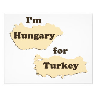 """Soy Hungría para Turquía (hambrienta para la acció Folleto 4.5"""" X 5.6"""""""